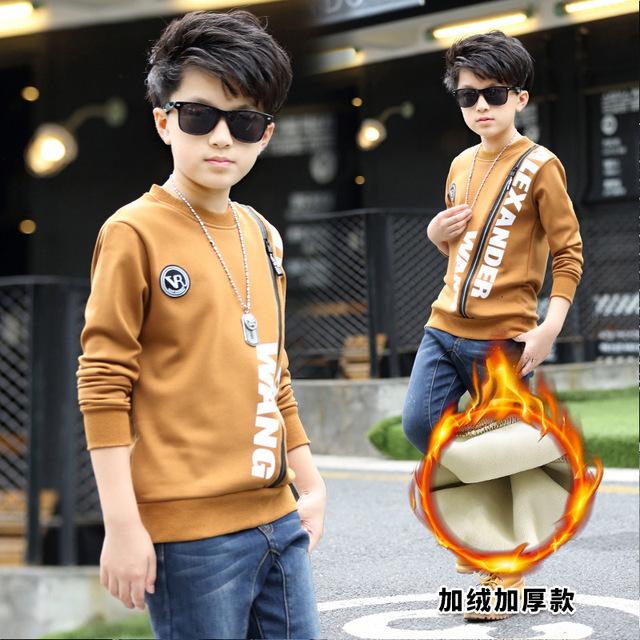 Longa seção do novo do menino camisola longa-manga 'crian ças s versão da versão Coreana da primavera e no outono printin