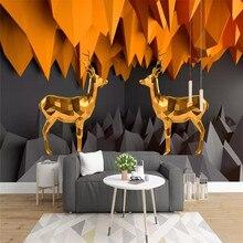 Custom wallpaper 3D stereo Nordic Zen mountain peak elk mural TV background wall painting waterproof material