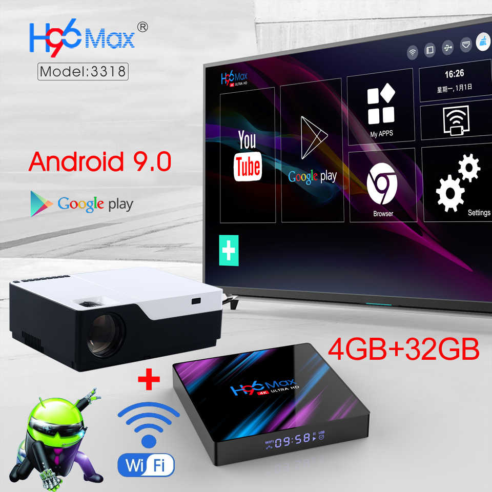 WZATCO 1920x1080P Android 9.0 WIFI Support AC3 4K 200inch Full HD 1080P LED Projector Video Proyector for Home Theater 5500lumen