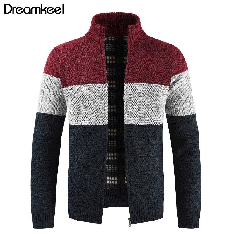 Marke Kleidung Verdicken Winter Pullover Männer Muster Striped Zipper Warm Outwear Jacke Wolle Liner Strickjacke Ropa De Hombre 2019 Y1