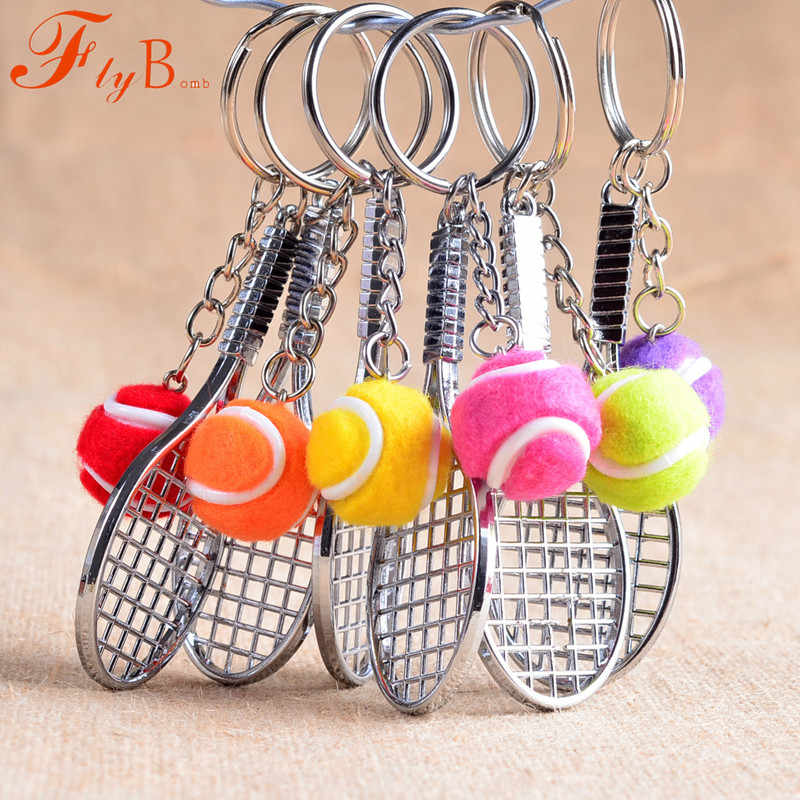 Mini Metal Tennis Racket Souvenir Cute tenis Racquet Ball Sports Chian Car Bike Keyring Simulation Gift L770OLD
