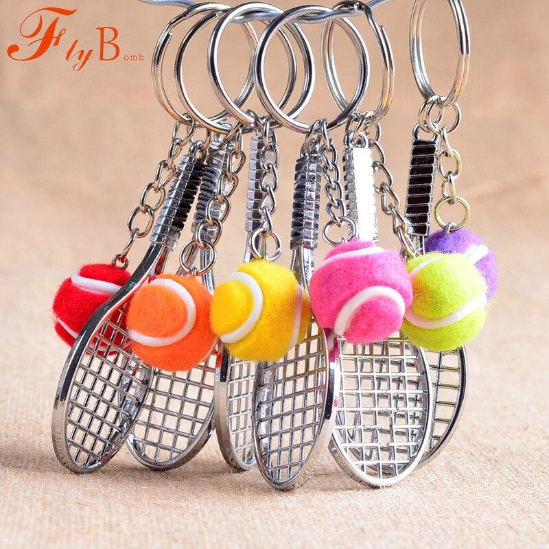 מיני מתכת טניס מחבט מזכרות חמוד tenis מחבט כדור ספורט Chian רכב אופני Keyring סימולציה מתנה L770OLD