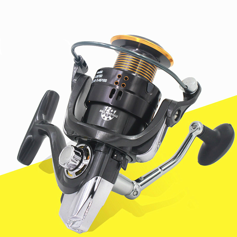High Quality Full Metal Spinning Fishing Reel 12+1 Ball Bearing Rubber Handle Gear ratio: 5.2:1/5.1:1/4.11/1 3000-9000 Series 3bb ball bearings left right interchangeable collapsible handle fishing spinning reel se200 5 2 1 with high tensile gear red