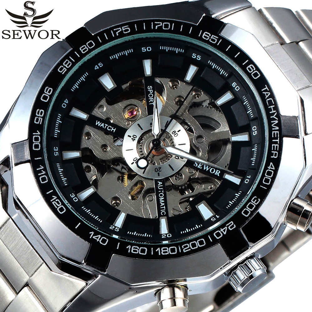 Automatic Mechanical Watch Men SEWOR Luxury Brand Skeleton Stainless Steel Military Watch Relogio Masculino Watch Dropshipping