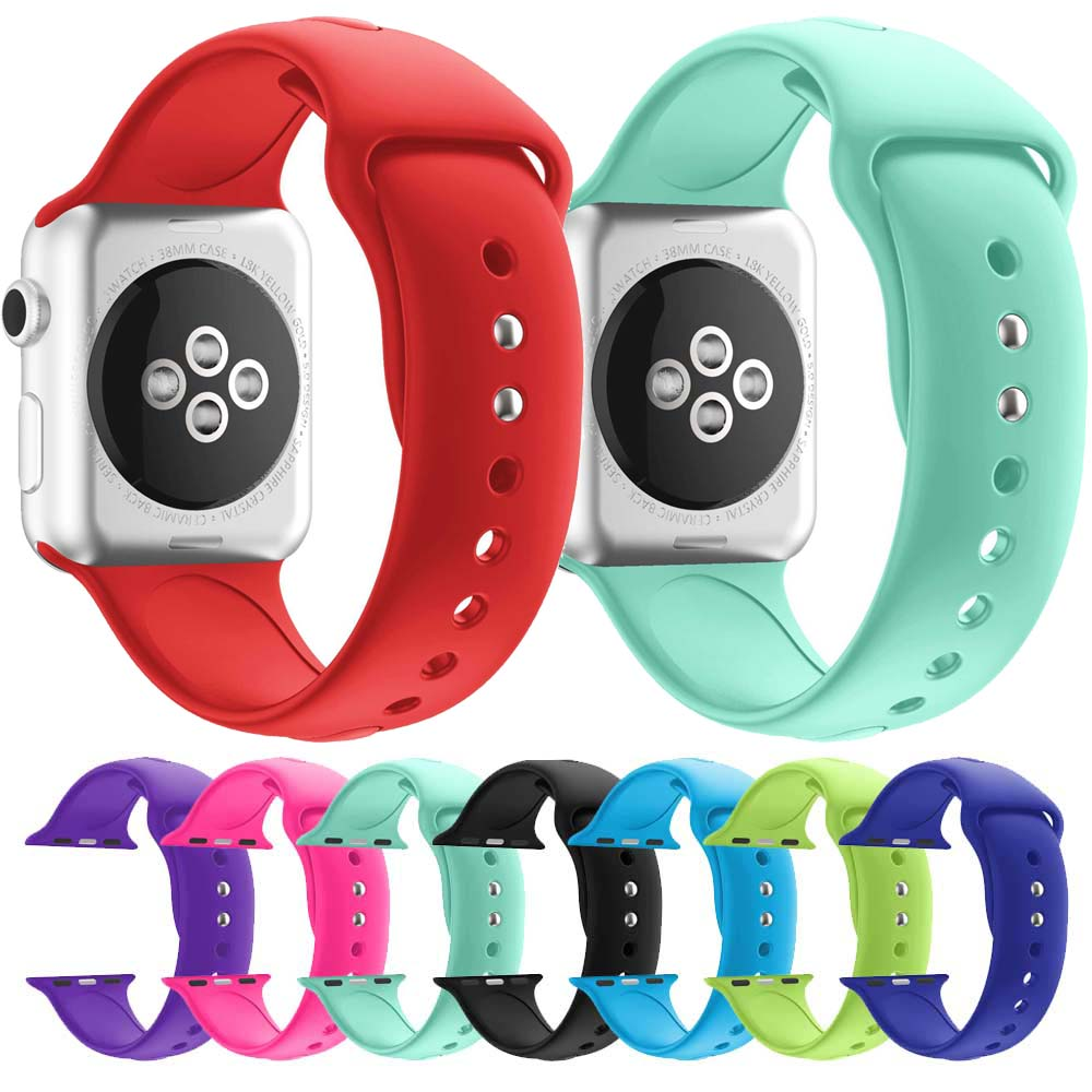 Colorful Soft Silicone Replacement Sport Band For Apple Watch 42mm strap iWatch 1 2 3 38mm Wrist Bracelet Strap Sports Edition colorful soft silicone strap for apple watch band 38mm sport rubber bracelet wrist band strap 42mm for iwatch series 1 2 3 nike