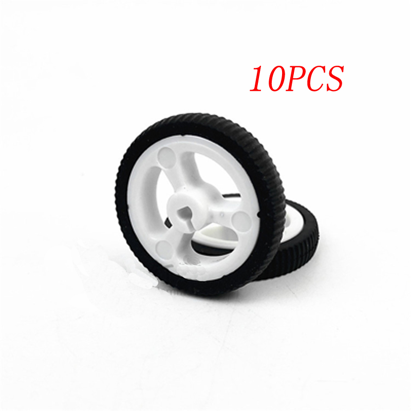 10PCS Mini Car <font><b>N20</b></font> Micro Motor <font><b>Wheel</b></font> Rubber Tires Dia 34mm 3mm D-axis Shaft DIY Toy Spare Parts for RC 4WD Model image