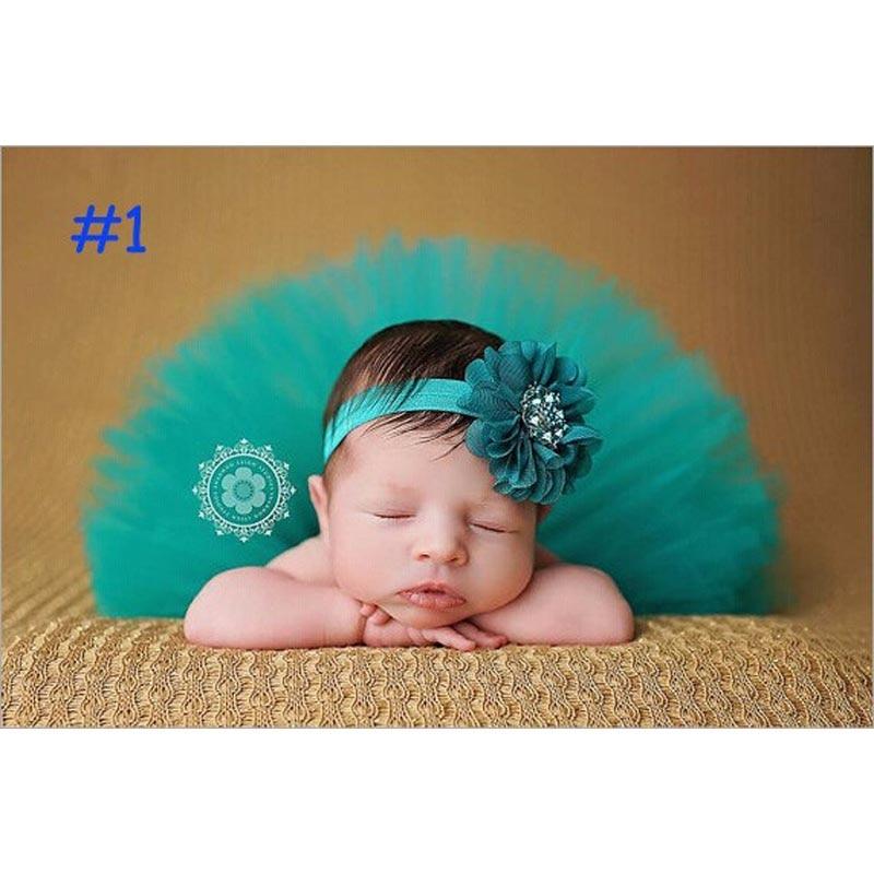 Baby Infant Girl Tutu Skirt and Flower Headband Photography Fluffy Skirt Newborn Princess Christmas Skirt 0-6 months Baby Gift