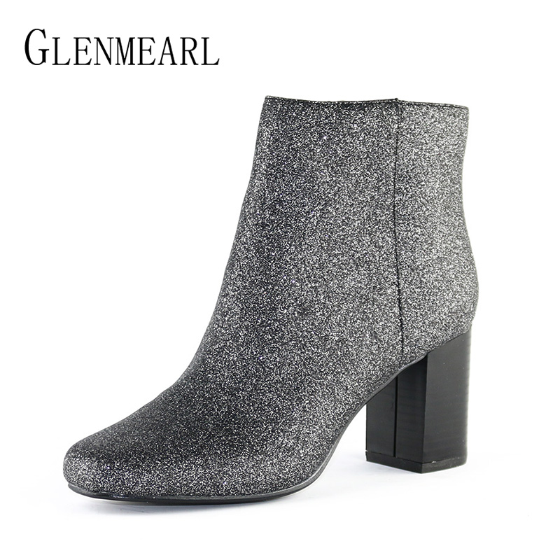 Fashion Women Boots Shoes Winter Warm Brand Bling Thick Heels Ankle Boots Female Plus Size Round Toe Zip Woman Shoes CE