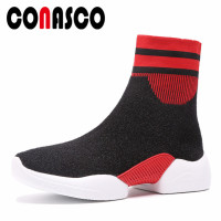 CONASCO Brand Women Velvet Socks Boots Platforms Comfort Casual Shoes Woman Round Toe Short New Basic Boots Sneakers Shoes