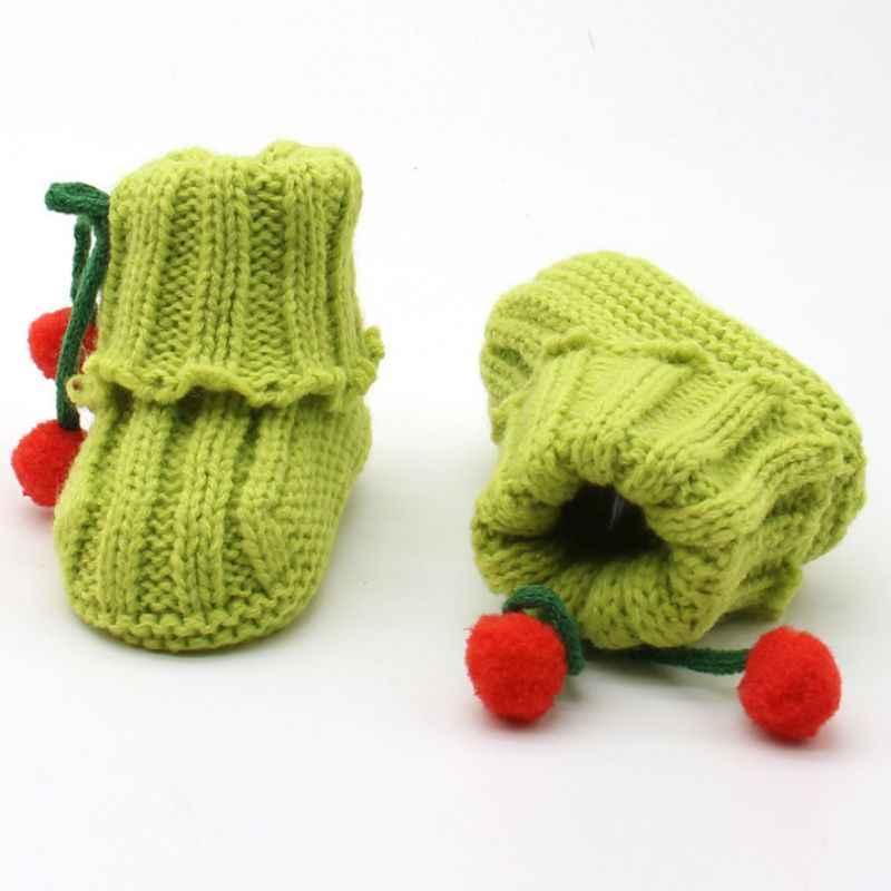 Pasgeboren Baby Baby Peuter Meisjes Winter Warm Haak Knit Fleece Booties Pasgeborenen Boog Sneeuw Schoenen Loopstoeltje Wieg Laarzen
