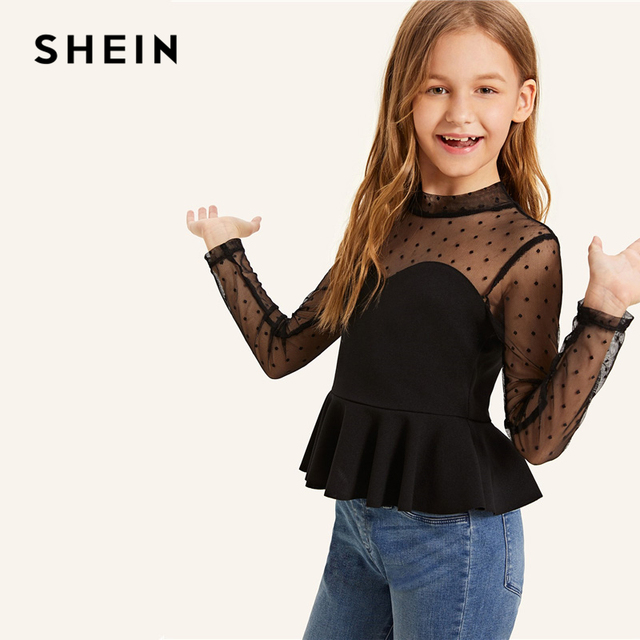 SHEIN Kiddie Black Stand Collar Dot Mesh Sweetheart Peplum Tops For Girls 2019 Summer Long Sleeve Slim Fit Sheer Girls Blouses