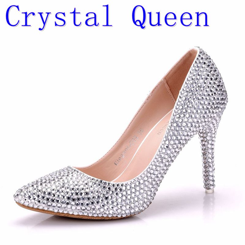 Crystal Queen Women Pumps Crystal Wedding Shoes Pointed Toe High Heels Cinderella Shoes Rhinestone 9CM Heels