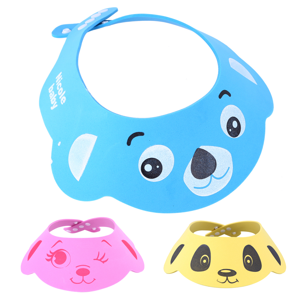 New Arrival 35 * 30CM Baby Care Resizable Shampoo Cap Baby Child Bath Shower Face Eye Protect Waterproof Cartoon Shower Cap FCI#
