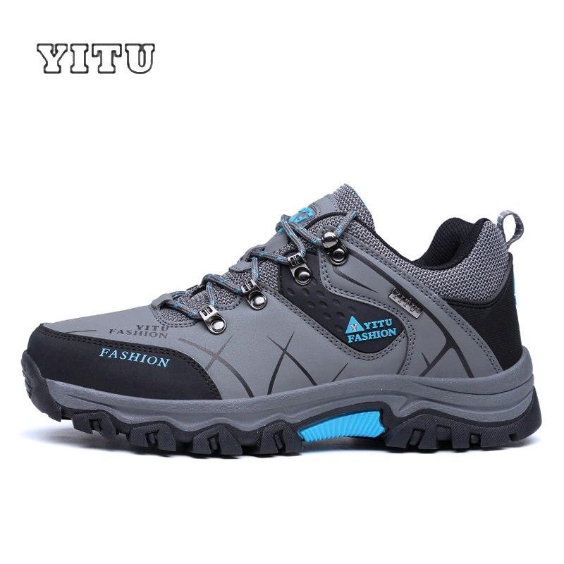 YITU Men Profession Hiking Shoes Waterproof Anti-Skid Outdoor Trekking Shoes High Quality Climbing Sports Shoes Plus Size 39~47