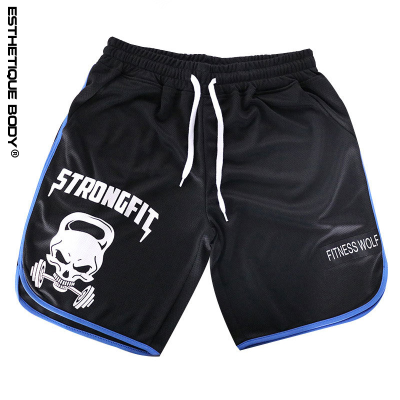 2018 running shorts men quick dry Skull print gym jogging shorts for men short brand Bodybuilding sports running men short pants