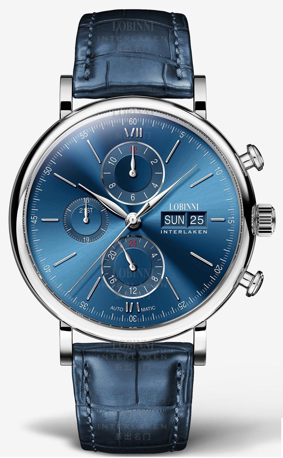 HTB1IznhVcfpK1RjSZFOq6y6nFXa2 Switzerland LOBINNI Men Watches Luxury Brand Perpetual Calender Auto Mechanical Men's Clock Sapphire Leather relogio L13019-6