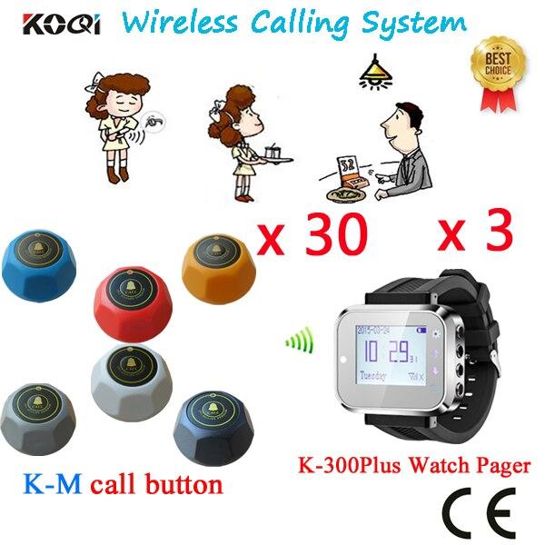 Système de radiomessagerie de Restaurant pour montre de téléavertisseur de Restaurant et bouton d'appel avec le meilleur prix du fournisseur de la chine (3 regarder + 30 bouton d'appel)