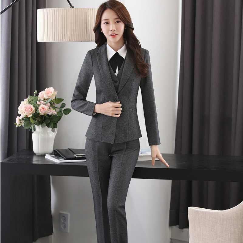 Novelty Grey Uniform Styles Pantsuits With 4 pieces Jackets + Pants + Vest Coat + Blouses Business Female Pants Suits Plus Size