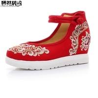 Vintage Women Pumps Floral Embroidered Casual Canvas Platforms Cotton Leisure Travel Shoes For Woman Plus Size