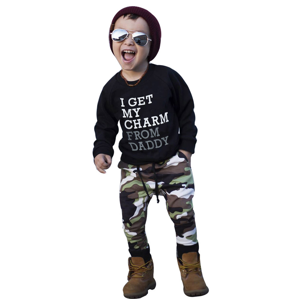Toddler Kids Baby Boy Letter T shirt Tops+Camouflage Pants Outfits Clothes Set 2018 Baby Clothes Dropshipping newborn toddler infant baby boy girl clothes t shirt tops pants outfits 2pcs baby clothes set 0 24m