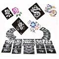 60 pcs mixed 66 estilos Glitter estêncil Do Tatuagem projeto airbrush Pintura Corporal Tatoo Temporária template Kit suprimentos Frete grátis