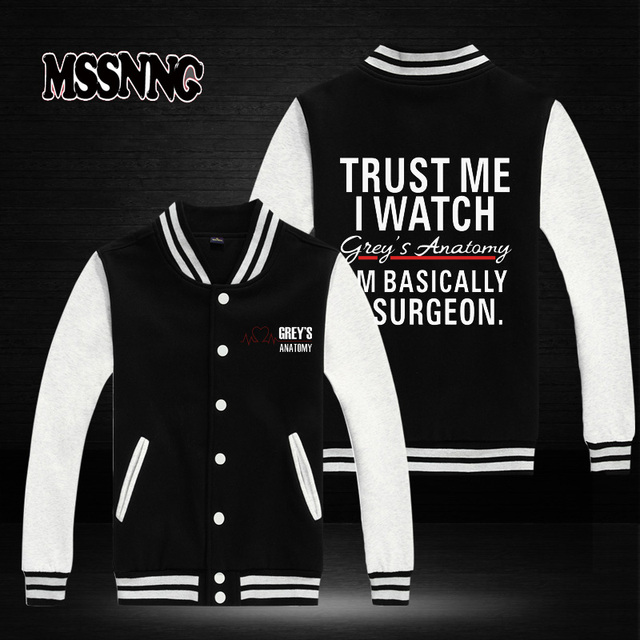 USA SIZE New Fashion Brand Clothing Baseball Jacket Grey\'s Anatomy ...