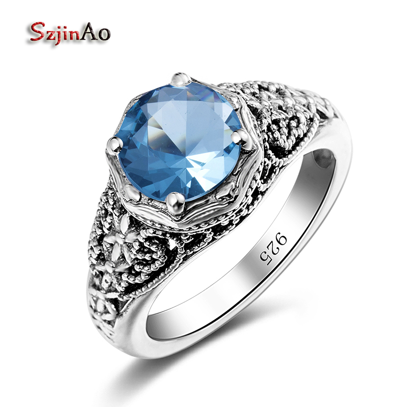 Szjinao New Brand Handmade 925 Pure Sterling Silver Rings Aquamarine Oval Cut Luxury Brand Women Ring Wholesale