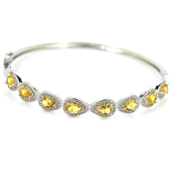 Ravishing Золотой Цитрин Белый CZ женщины присутствует 925 серебряный браслет 7,5-8,0 62 ...