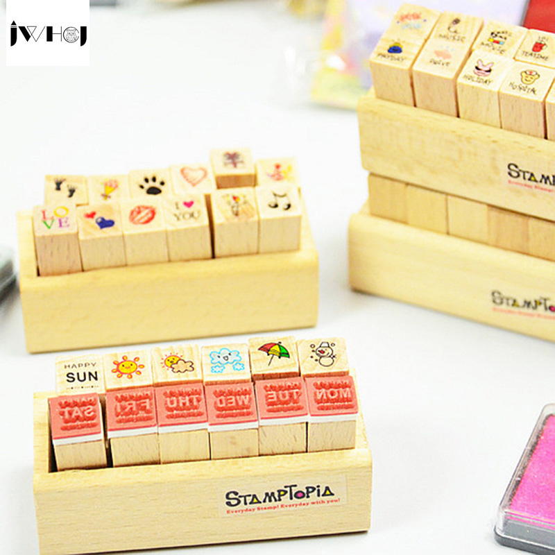JWHCJ (12 PCS/set) Mini diary stamp wooden rubber stamp DIY Handmade Scrapbook Photo Album, students Stamps Arts, Crafts gifts jwhcj vintage cat date wood roller stamps for children diy handmade scrapbook photo album diary book decoration students stamps