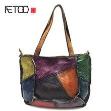 AETOO Leather handbags patchwork 2018 new the first layer of leather lady retro handbag simple manual rub shoulder bag все цены