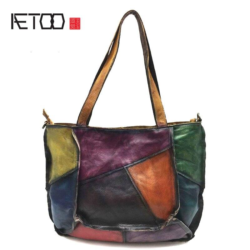 AETOO กระเป๋าหนัง patchwork 2018 ใหม่ชั้นแรกของหนัง lady retro กระเป๋าถือคู่มือ rub ไหล่กระเป๋า-ใน กระเป๋าหูหิ้วด้านบน จาก สัมภาระและกระเป๋า บน   1