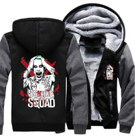 USA Size Suicide Squad Harley Quinn Joker Cosplay Coat Hoodie Winter Fleece Unisex Thicken Jacket Sweatshirts