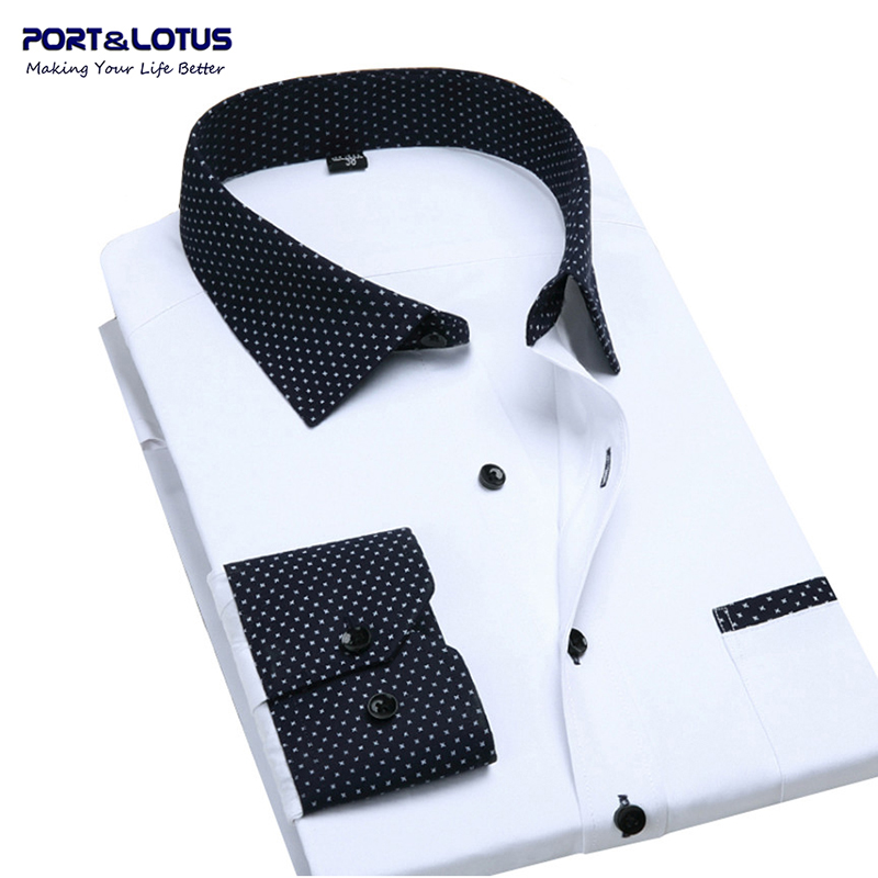 Port&Lotus Contrasted Men Dress Shirts Bs