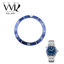 Rolamy Wholesale High Quality Aluminum Dark blue with White Writing Watch Bezel Insert for Seamaster 2220