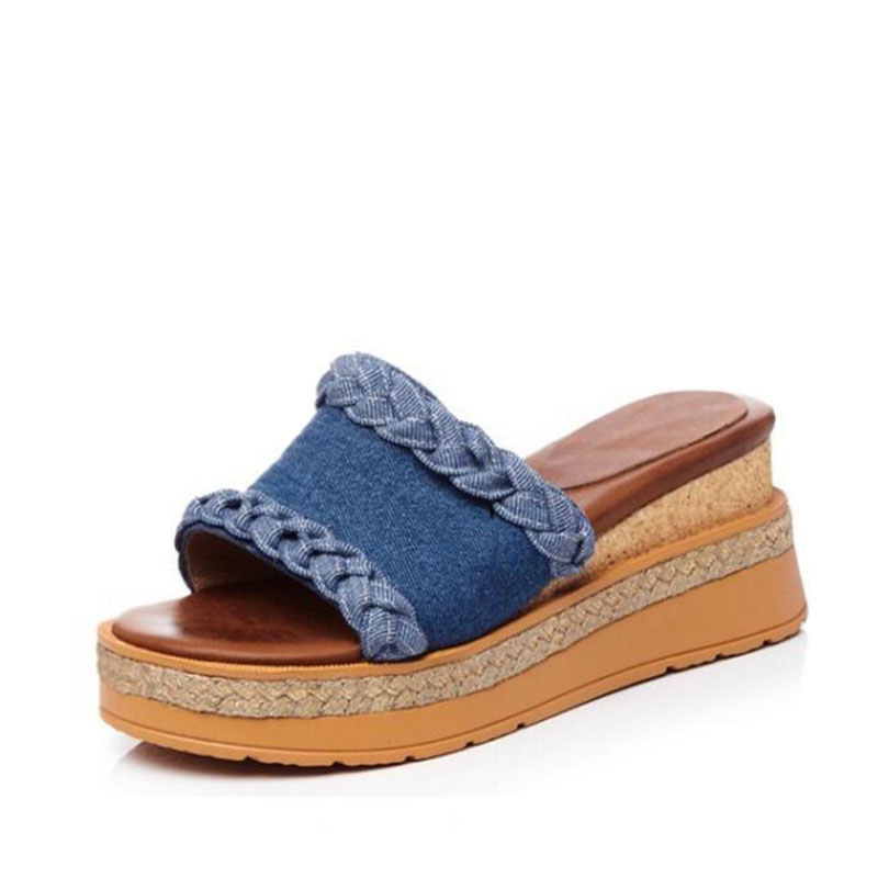 2017new fashion trend of summer wedges female slippers open toe high-heeled shoes denim sandals genuine leather braid straw beac