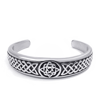 Elfasio Womens Mens Classic Celtic Knot stainless steel Bracelet with Irish Pattern Jewelry