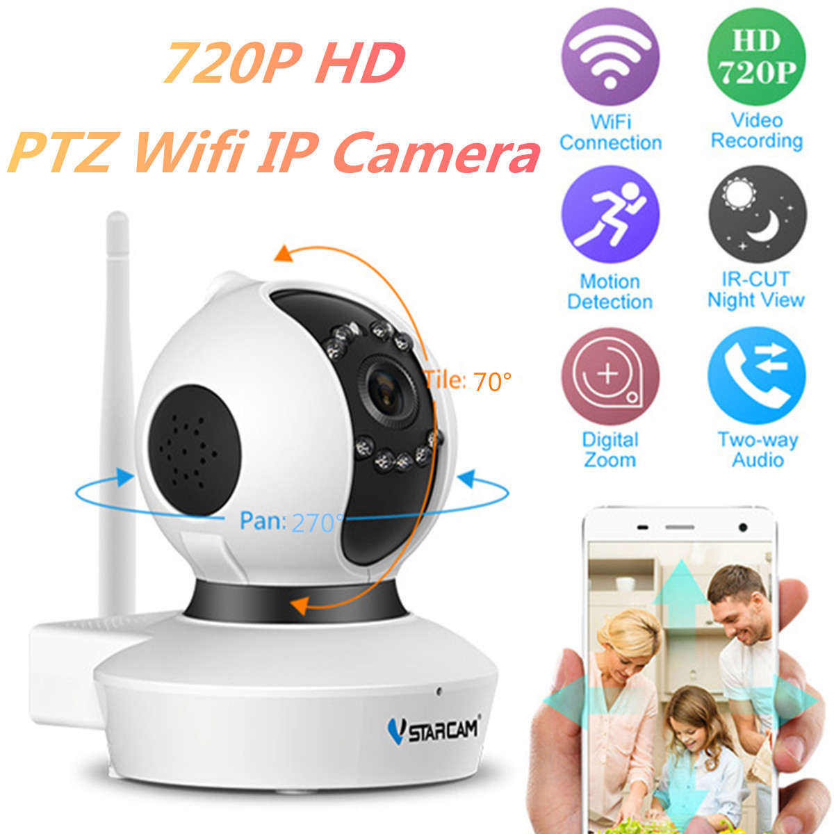 Wireless 720P Pan Tilt Network Security CCTV IP Camera 64GB TF US/EU/AU/UK Plug Night Vision WiFi Webcam Infrared ABS Voice vstarcam c7815wip 1 0 mp 720p outdoor waterproof wireless ip network camera w onvif2 0 tf us plug