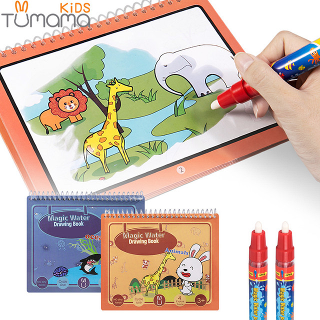 US $9.59 30% OFF|Tumama 2pcs Magic Coloring Book Book Animal Marine Life  Water Drawing Book Magic Pen Drawing Board Juguetes Kids Painting Toys-in  ...