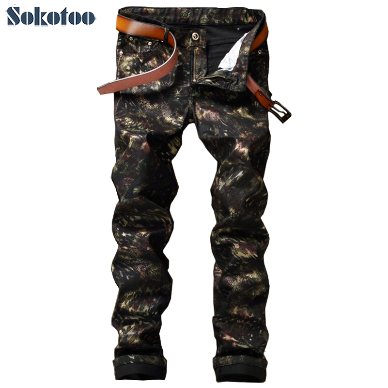 Sokotoo Men's Fashion Pattern Print Pants Slim Skinny Painted Coated Black Jeans Long Trousers