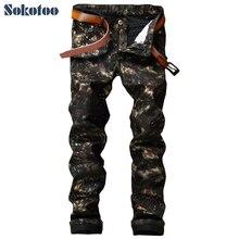 Sokotoo herrenmode muster print hosen Dünne dünne lackiert beschichtete schwarze jeans lange hosen
