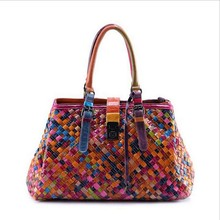 Colorful genuine leather bags for women handbag genuine weaving Cowhide splicing top-handle crossbody bag shoulder bag