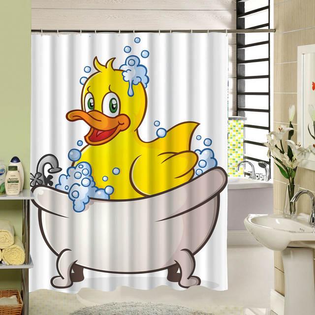 Placeholder Yellow Duck Kids Bath Shower Curtain Polyester Screen Liners Animal Bird Pattern Cortina De Bano