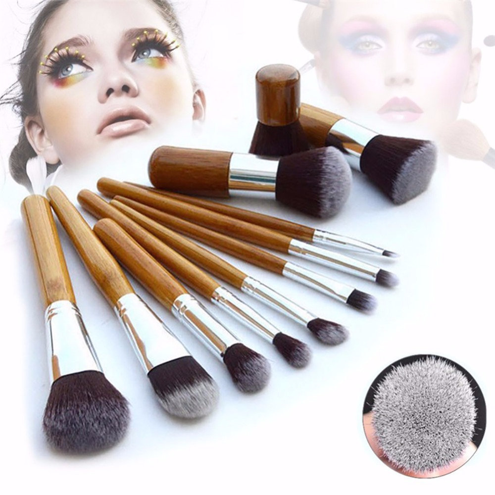 11Pcs Makeup Brushes Synthetic Professional Natural Bamboo Cosmetics Foundation Eye shadow Blush Makeup Brush Set Kit Pouch A2 2017 pro 1 pcs bamboo handle eye brushes makeup flat brushes cosmetics professional makeup brush set hairbrush ap253