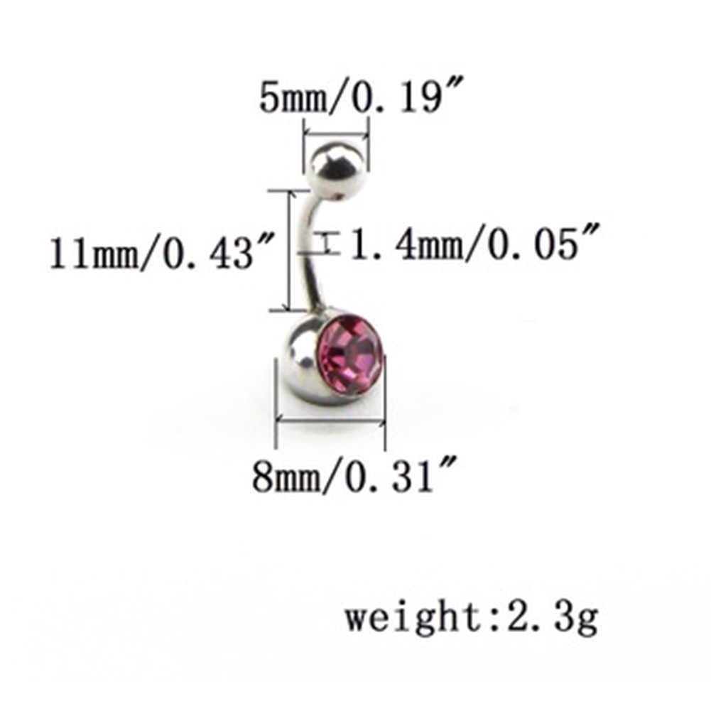 12 colores diamantes de imitación Peice Anti alergia Simple tumbona titanio Ombligo Piercing Ombligo
