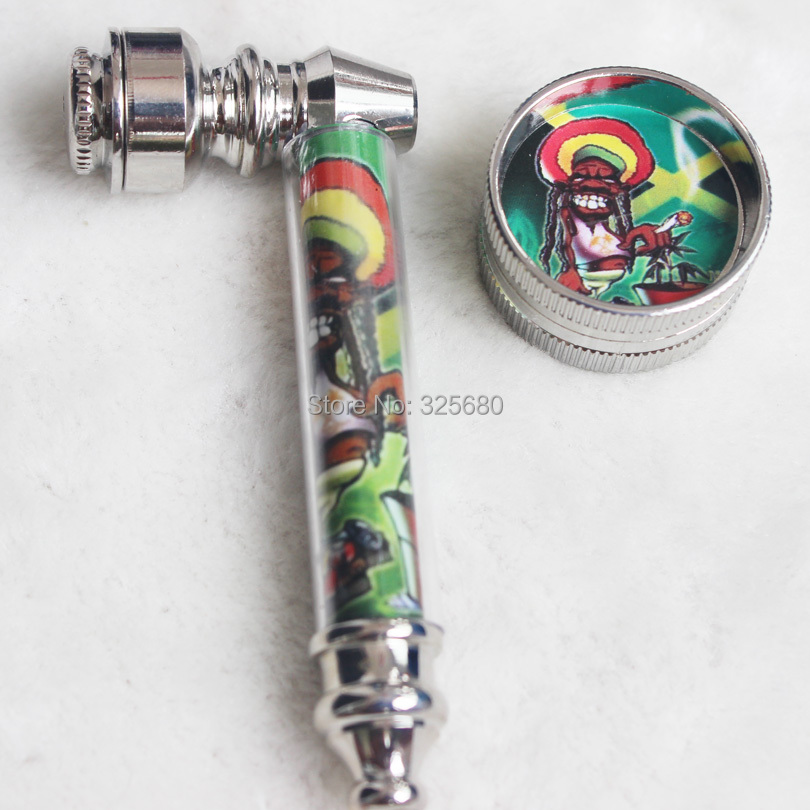 1PC Jamaican Reggae Portable Metal Tobacco Pipes Suit Grinder Filter Screen Cigarette Smoking Set Man Gift - Old Boys' Store store
