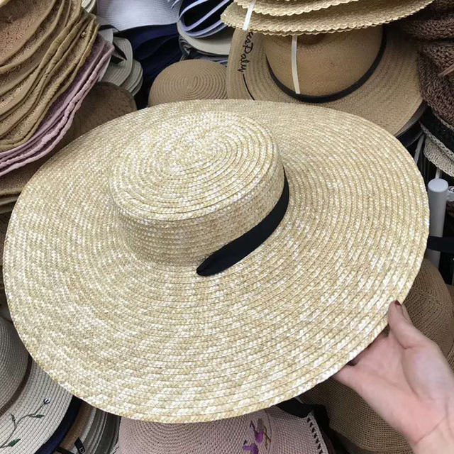 Natural Wheat Straw Hat Ribbon Tie 15cm Brim Boater Hat Derby Beach Sun Hat Cap Lady Summer Wide Brim UV Protect Hats