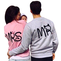 Pink Gray Couples Hoodies Women MR MRS Letter Printed Plus Size Sweatshirts Men 2016 O-Neck Long Sleeve Autumn Winter Pullovers
