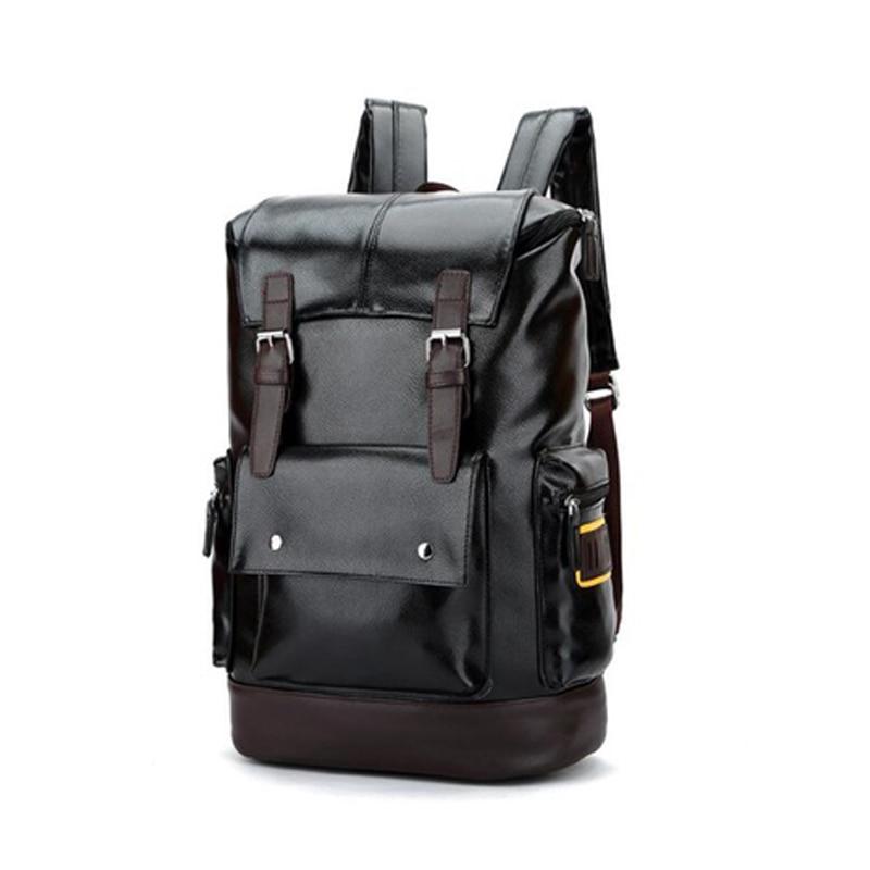 Leather Casual Backpack College Backpack Men's Vintage Leather Backpack Travel Shoulder Bag