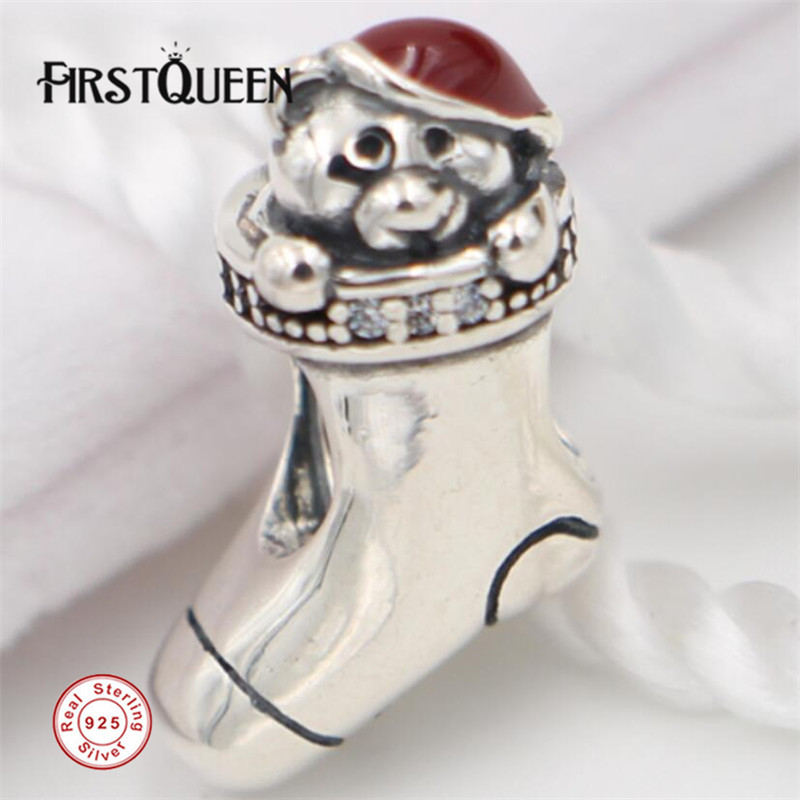 FirstQueen Christmas Stocking, Red Enamel Charms Fits Original Bracelets berloques para pulsera Crysatl Beads For jewelry making