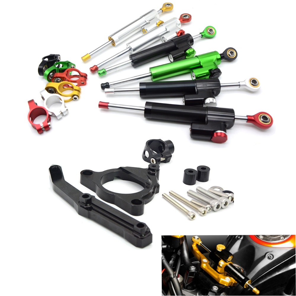 Motorcycle Accessories Adjustable Dampe Linear Reversed Steering Damper with bracket For Kawasaki Z800 Z 800 2013 2014 2015 2016 motorcycle cnc steering damper with bracket suport for kawasaki z800 2013 2014
